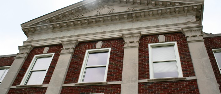 Close up of front of UNCG's Curry Building