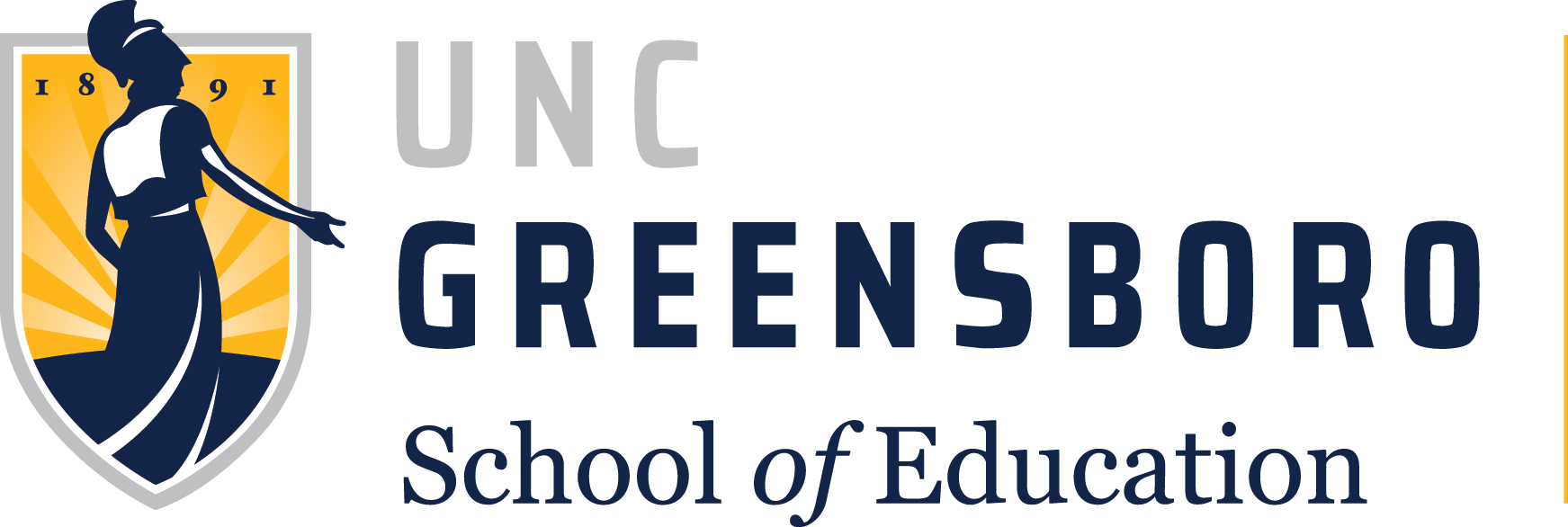 The logo for the University of North Carolina at Greensboro: a yellow shield with a dark blue silhouette of Athena in it