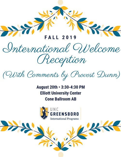 UNCG International Programs invitation to the Fall 2019 International Welcome Reception